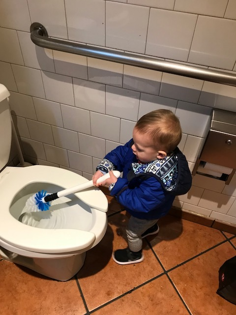 Cleaning the potty of Noodles and Co. I must make bathroom cleaning look fun!